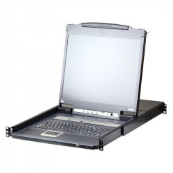 Aten CL5708IM-ATA 8-Port PS2-USB VGA 17-inch LCD KVM over IP Switch with Daisy-Chain Port and USB Peripheral Support