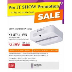 Casio XJ-UT351WN LED DLP Projector WXGA 3500 ANSI (Ultra Short Throw)